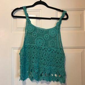 Debut-Women's Boho Crochet Turquoise Tank Top-ML/L
